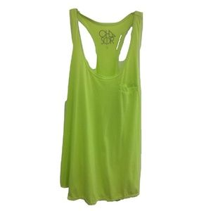 NWOT Chaser Neon Yellow Vintage Style Cut Out Tank